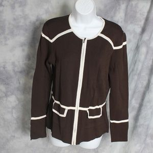 Doncaster brown/white zip-up cardigan